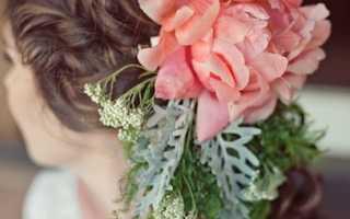 Свадебные прически с живыми цветами – виды