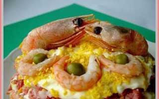 Овощной салат с креветками и морепродуктами